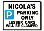 NICOLA'S Personalised Parking Sign Gift | Unique Car Present for Her |  Size Large - Metal faced